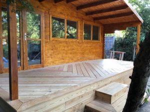 Larch herringbone decking